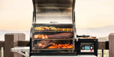 traeger pellet grill with food