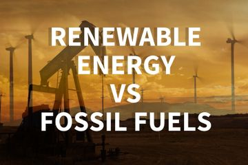 Renewable energy compared to fossil fueled energy