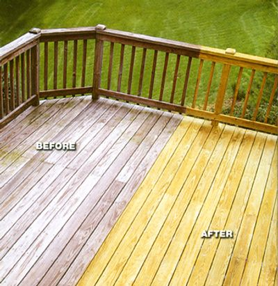 Power wash and re-seal with wood sealant.