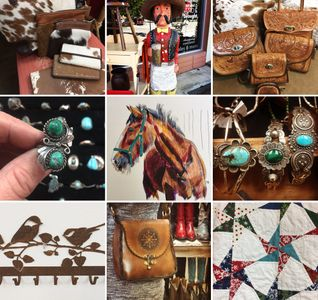 sterling jewelry, turquoise, quilts, tooled leather bags, purses, paintings, art, folk art