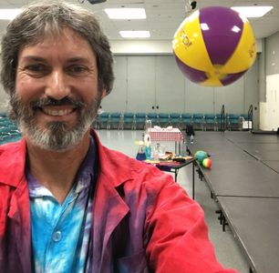 Thanks to Bernoulli's principle, Alan The Amazing is able to keep the beach ball floating in air during the STEM science magic show.