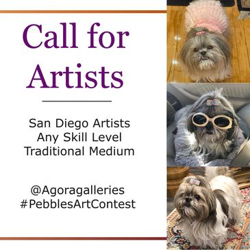 Art gallery contest for Agora galleries. Pebbles gallerina dog San Diego Artists traditional medium