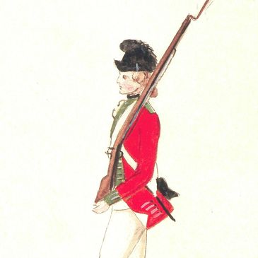 Watercolor of the 24th Regiment of Foot by Von Germann  as they where in 1777.