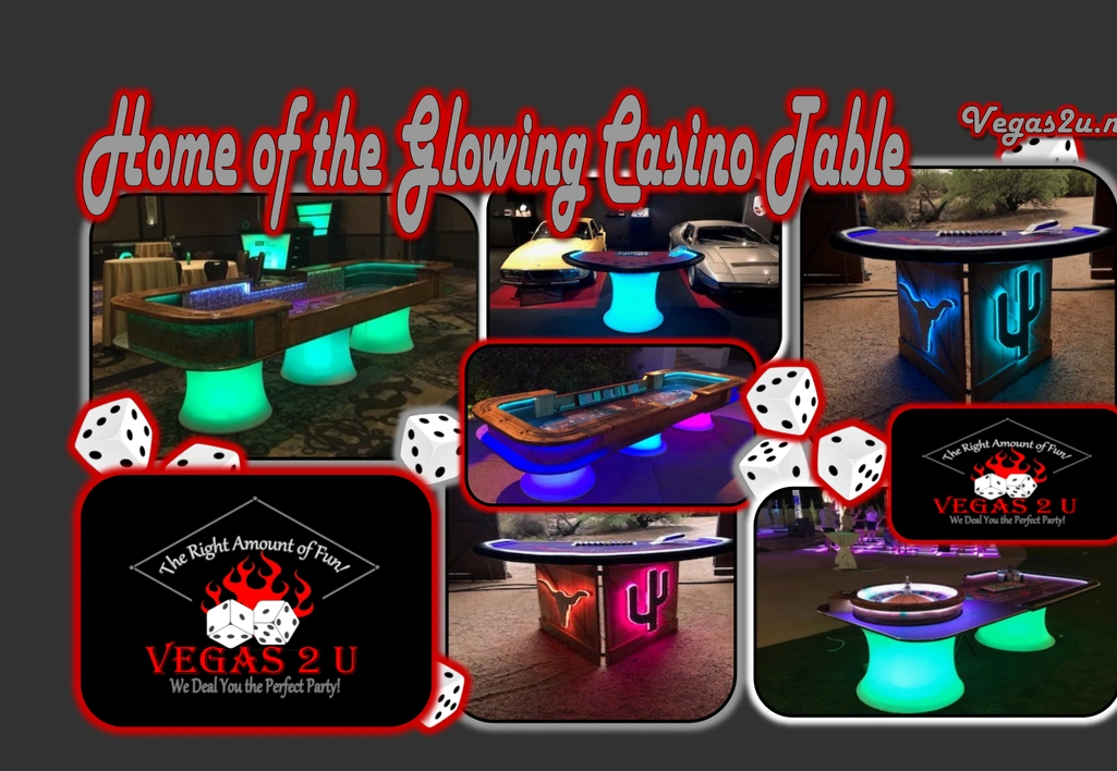 Casino theme party with glow tables, western theme tables, prohibition theme tables