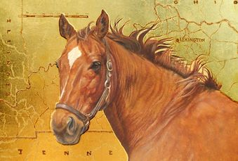 A horse painting with gold leaf background