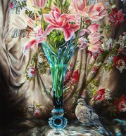 A vase of lilies and a dove