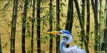 Bamboo and a great blue heron