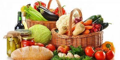 Fruit and vegetable basket healthy whole foods nutrition