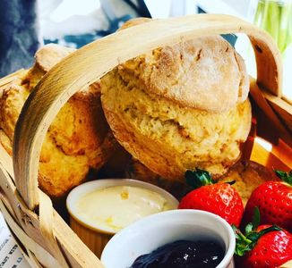 Delicious homemade scones served with Locally made Cornish Jam & Clotted Cream