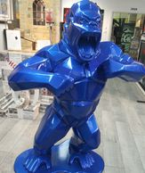 Large Acrylic Sculpture Blue Gorilla