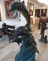 Alvarado Artist  Patinated All-Bronze 5-Dolphin Fountain