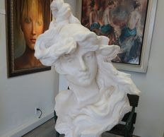 VALLDEA Marble Woman Bust  19th Century Italy