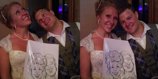 Wedding caricature drawing of Bride & Groom. Give your guests memorable drawings of your special day
