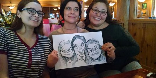 Caricature of three guests at a company party. Was fun drawing these adorable guests!