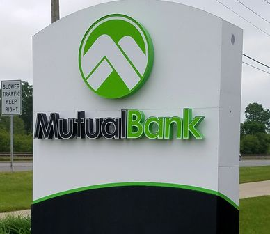 Michiana Signd and Lighting built a sign for Mutual Bank