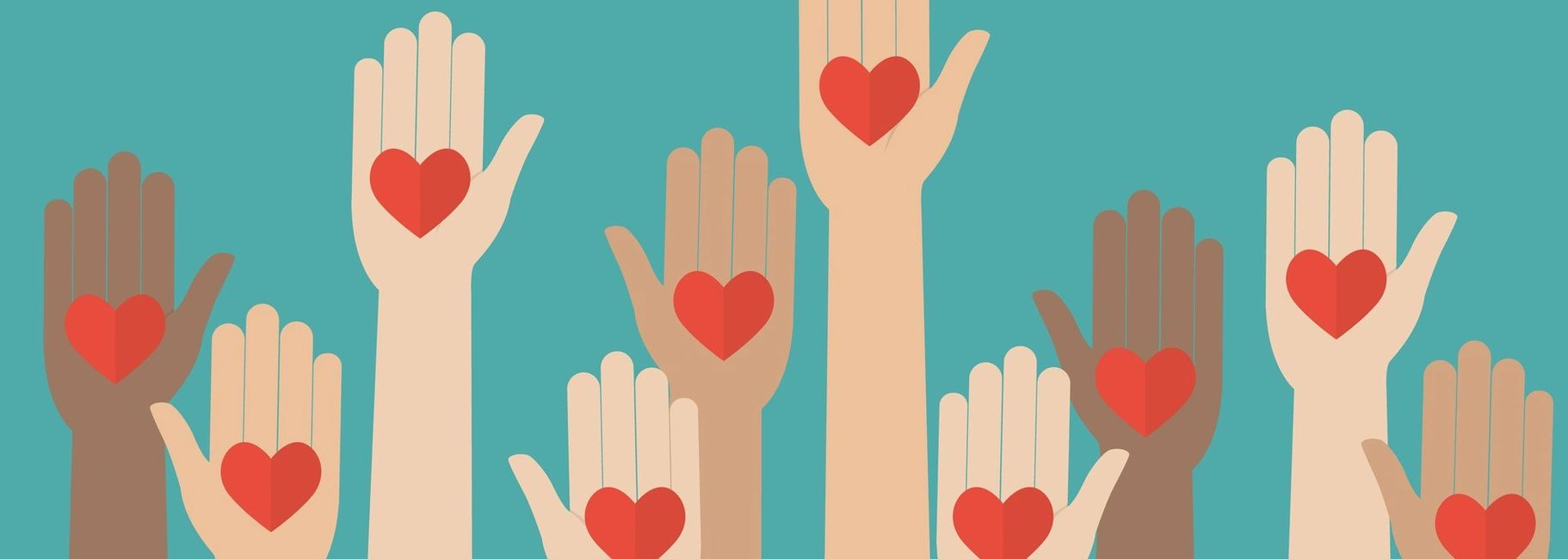 Hands reach up in a variety of skin tones. Each hand holds a heart. The background is turquoise.