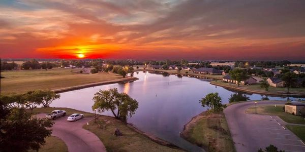 Sunrise view of the lake from the Tower Apartments