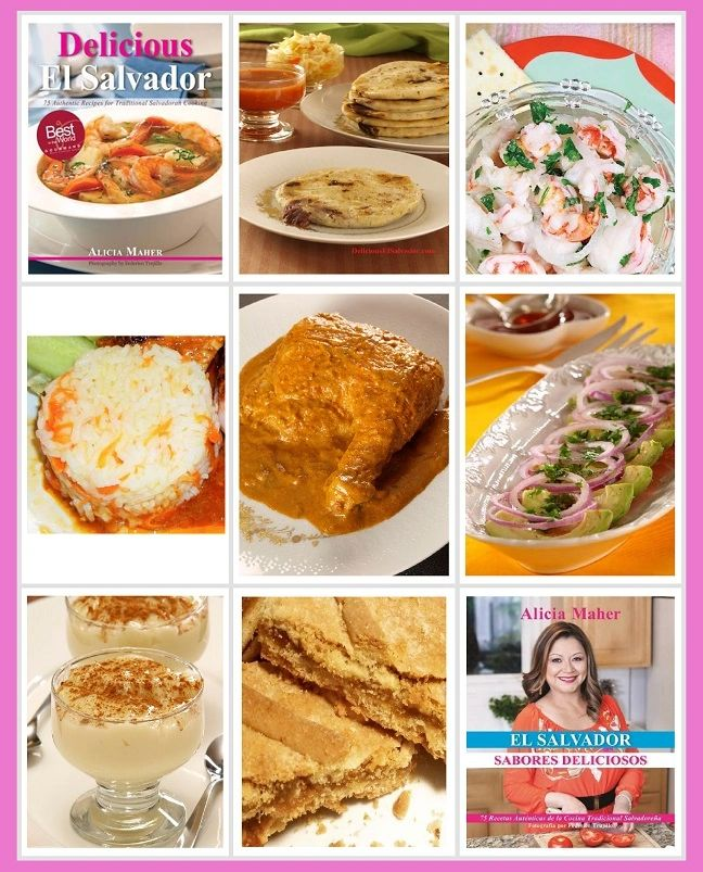 Covers of Delicious El Salvador and El Salvador, Sabores Deliciosos.  Salvadoran recipes and photos.