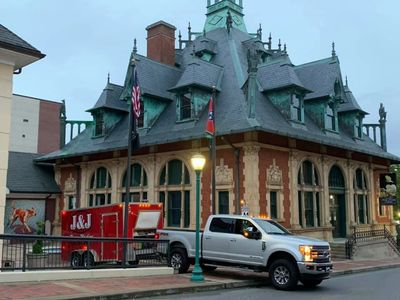 J & J Power Washing working on the Customs House Museum in downtown Clarksville Tennessee