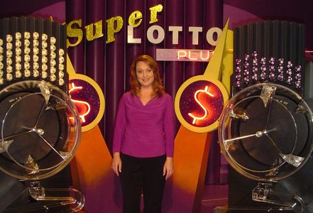 Staci Anderson hosting the live broadcast of California's SuperLOTTO Plus on statewide television