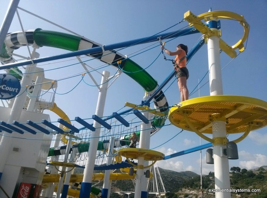 High ropes course activities on a cruise ship.