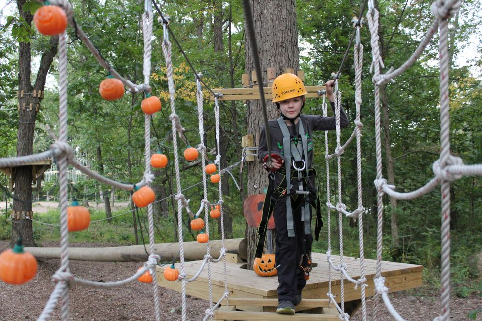 Kid's low ropes course on park district property in Northwest Indiana, 15 miles from Illinois.