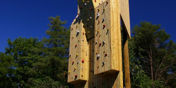 Outdoor climbing tower at Loyola University in Chicago, Illinois.