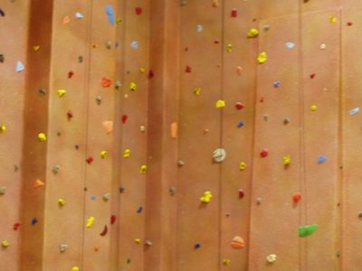 Indoor climbing wall at a public school in Michigan.