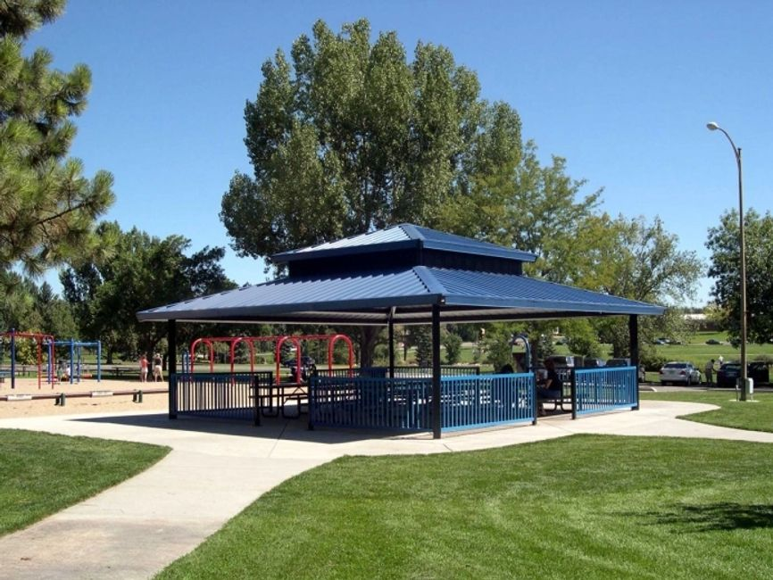 Shade pavilion in city park.