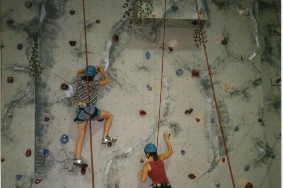 Indoor climbing wall from a climbing gym in Illinois.