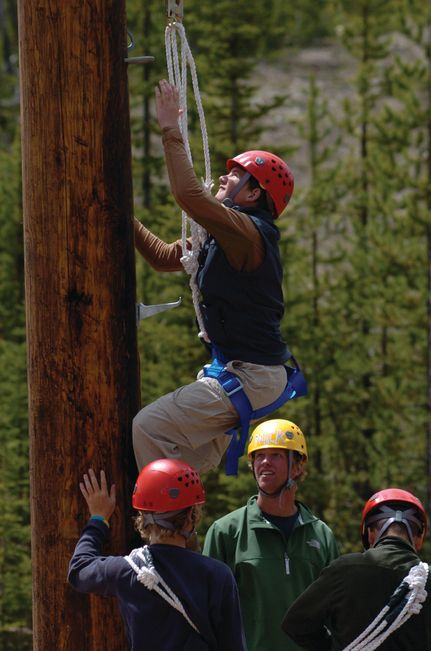 High Ropes Course Staff Training exercise at a Michigan aerial adventure park.