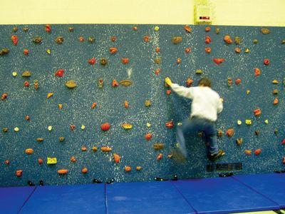 Indoor climbing/traverse wall at a middle school in Ohio.