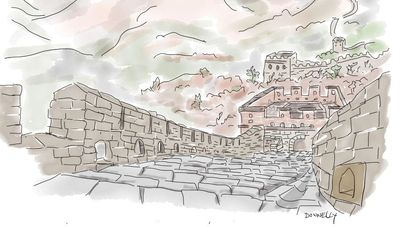 Drawing of the Great Wall of China by Liza Donnelly