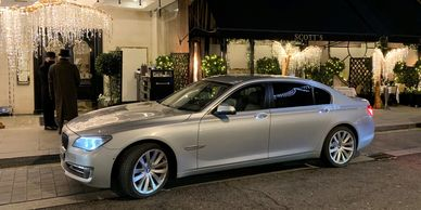 Silver BMW 7 Series at Scotts, Mount Street, London
