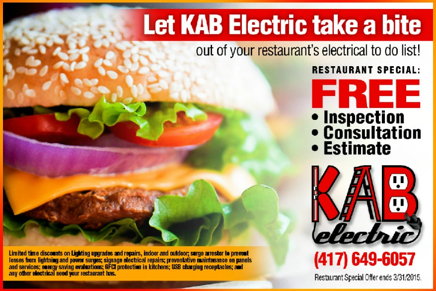 KAB Electric Restaurant Special in Carl Junction Joplin and Webb City
