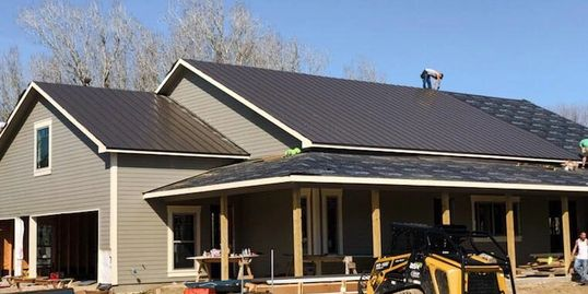 Job site PROGRESS PIC: metalroof installation Color: Burnished Slate