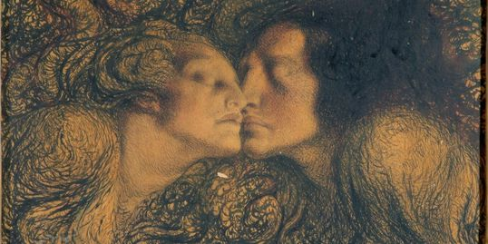 Image of Rose O'Neill's painting, The Kiss