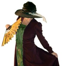 Image of Laurie Nienhaus in a reproduction, late Victorian Artistic Dress