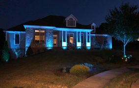 Landscape lighting installation in Westminster, MD. Design and installation of low voltage lighting.