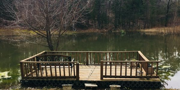 Fishing deck located in front of the pond.