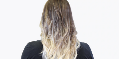 ombre & balayage girl siting on a stylist chair