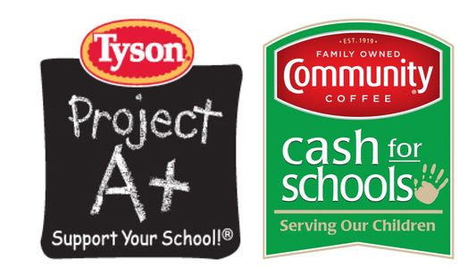 Image that shows logos for the Tyson Project A+ and Community Coffee Cash for Schools programs.