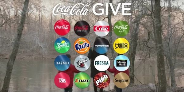 Image that reads Coca-Cola Give and shows logos of eligible products.