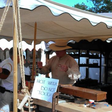 Demonstrating our craft of making shaker boxes at the Mt. Vernon Craft Fair