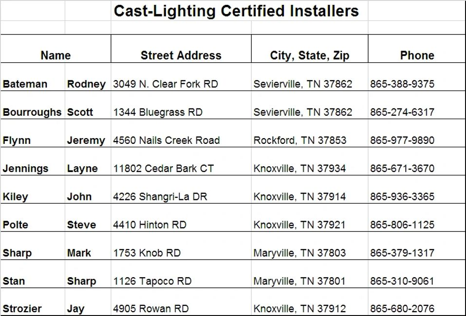 Cast-Lighting Certified Installers in the Knoxville, Tennessee area.