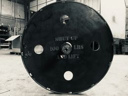 100lb plate wagon wheel for deadlift.  Hundo Wheels