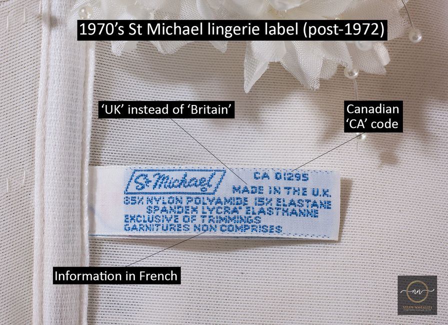 1970's St Michael lingerie label dating guide - what to look for.