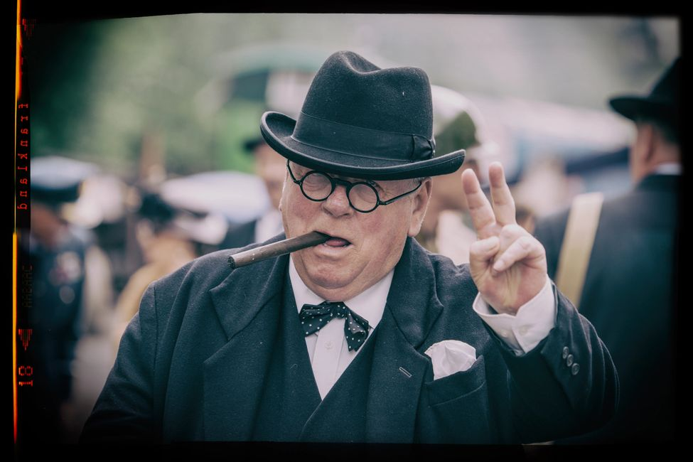 My photo of fabulous Winston Churchill impersonator Peter Austwick, sadly now passed away.