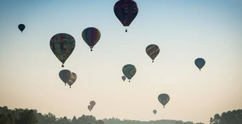 hot air balloons into the sky