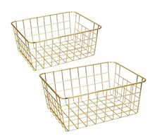 2 Wire Baskets, Gold 2 Pack Wire Basket, Organizing Storage Crafts Decor Kitchen
